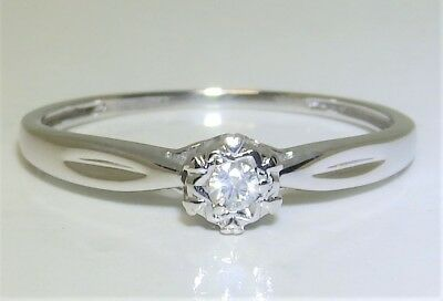 9Ct 9 Carat White Gold  Diamond Single Stone Solitaire Engagement Ring Size O