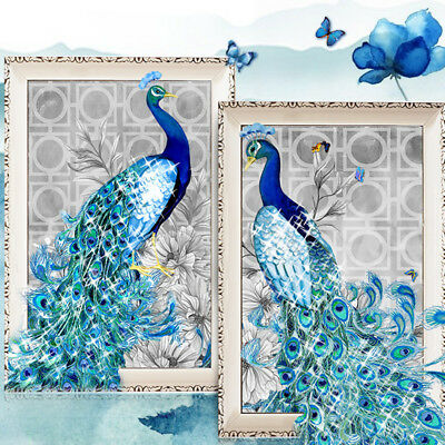 DIY 5D Diamond Embroidery Painting Peacock Flower Decor Craft Cross Stitch AU