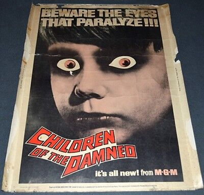 CHILDREN OF THE DAMNED 1963 ORIGINAL ROLLED 30x40 MOVIE POSTER! SCI-FI HORROR!