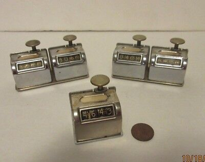 5 Vintage 4 Digit Mechanical Hand Held Tally Head Counter Clickers