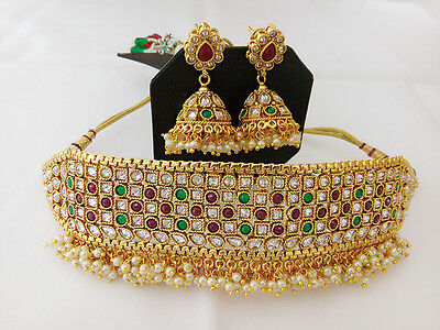 Indian Fashion Jewelry Antique Chick Necklace Bollywood Ethnic Gold Plated Set