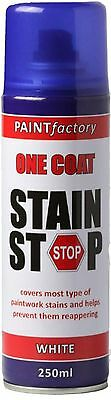 One Coat Stain Stop Spray White Covers Paint Stain Decorating Wall Ceiling 250ml