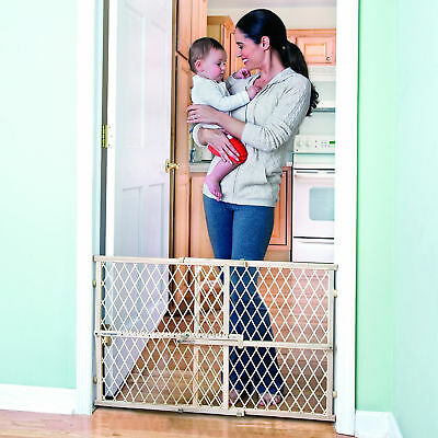 Baby Safety Gate Wood Fence Pet Walk Thru Child Toddler Locking Stair Door Dog