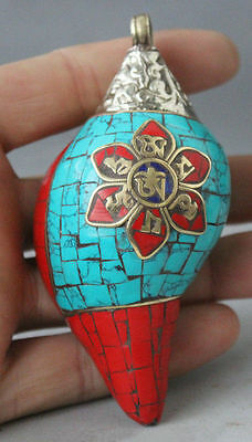 Chinese Buddhism in Tibet silver turquoise coral conch shells amulet pendant