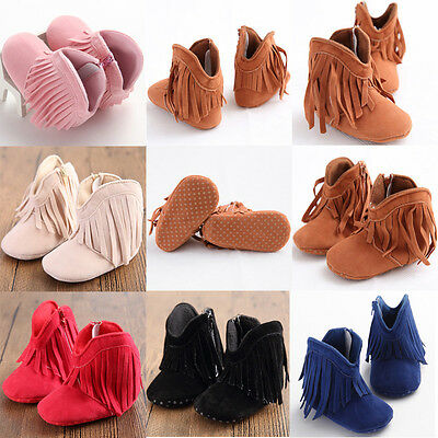 AU STOCK Newborn Baby Girl Soft Sole Shoes Toddler Crib Moccasin Prewalker Boots