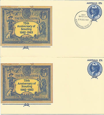 AUSTRALIA FDC 1982 PSE APN 059 75th ANNIVERSARY OF SCOUTING-2 COVERS