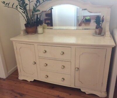 Art Deco Furniture White Buffet Sideboard with Mirror