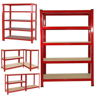 Metal 5 Tier Garage Shelving Unit Racking Workshop 180x140cm Extra Wide Storage