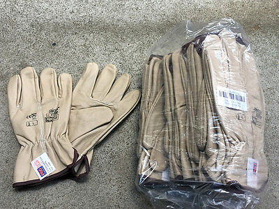 P/K OF 12 pair x Size LARGE  RIGGER LEATHER GLOVE (Brand New)