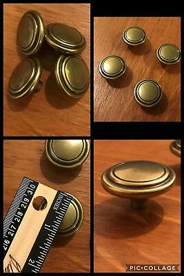 4 Knobs Pulls Round Antique Brass Tone Cabinet Drawer Bullseye English Vintage