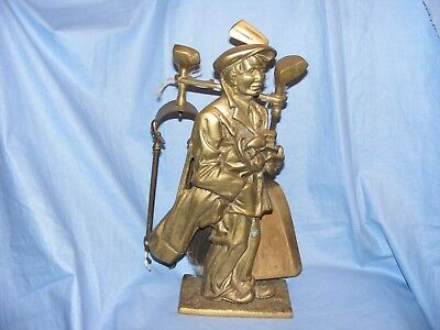 Brass Golfer Fireside Companion Set Golf Golfing Very Heavy Gift Present RARE