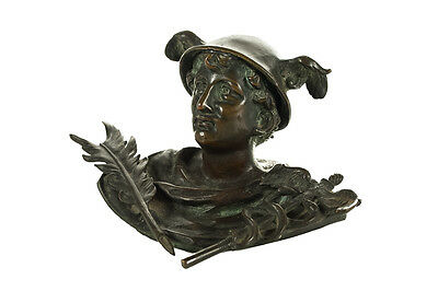 19th century Mercury Figure Bronze Table top Pen Holder