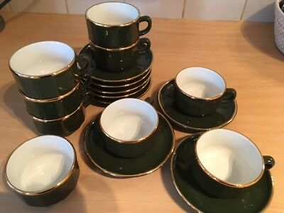 Apilco French Bistro Green & Gold 8 x Coffee Cups & Saucers & sugar bowl