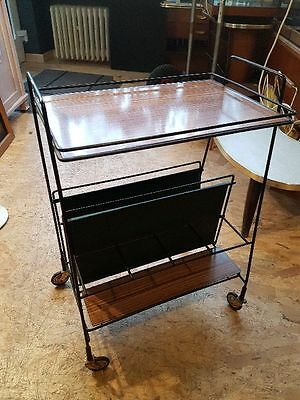 70s String Magazine Rack Trolley Order Table