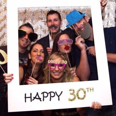 UK Happy 30th Birthday Party Props Photo Booth Selfie Frame + 20 Mask Moustache