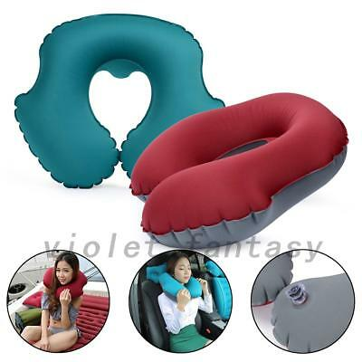 Inflatable U Shape Travel Pillow Head Neck Rest Air Cushion for Car Home VF