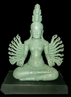 "7"" HAND-CRAFTED NATURAL GREEN JADE 17th CENTURY 20-ARMS KHMER DEITY SCULPTURE"