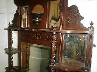 Edwardian Over mantle carved with turned pillars beveled  mirror @LOOK@