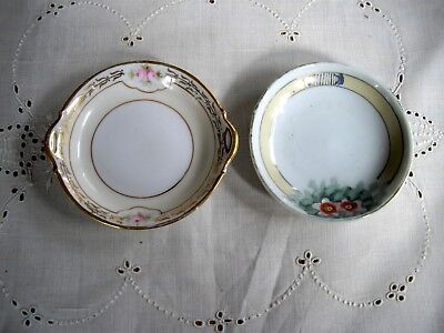 "Vintage Nippon Hand Painted Porcelain  3 1/2"" Butter Pat Plates   ~ Set of 2 ~"