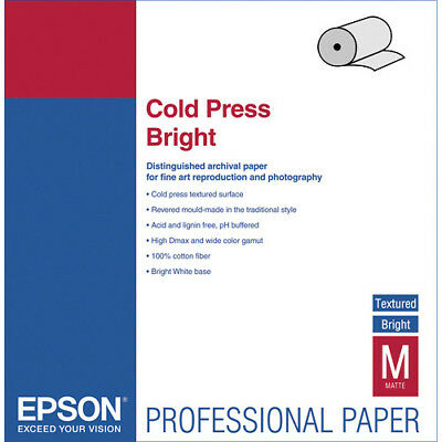 "Epson S042303 Cold Press Natural Paper - 100% Cotton - 17"" x 50' Sized Roll"
