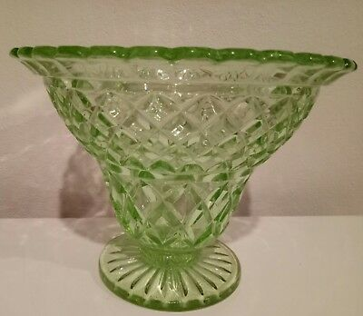 depression glass green compote