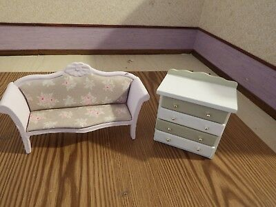 doll house furniture  victorian sofa and draws  1.12th