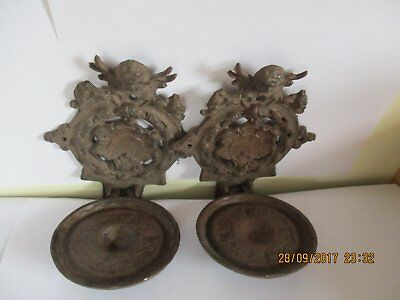 Pair of antique metal wall candle brackets 19th Century/earlier German monastery