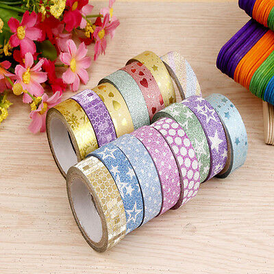 10 Rolls 300cm Self Adhesive Washi Masking Tape Sticker Craft Glitter Chic Decor