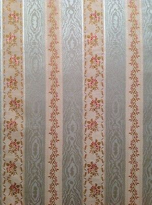 Antique French Silk Floral Striped Fabric