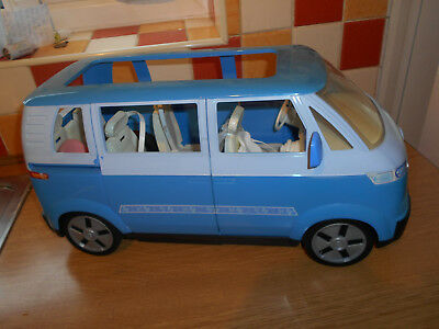 Vintage Blue Barbie VW Camper Van/ bus horn seat belts baby seat swivel chairs