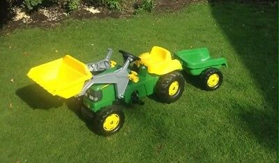 John Deere Children's Ride On Pedal Tractor And Trailer