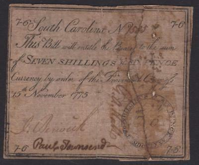 SC-105 ** One of Two Known ** PCGS F15 7s6d Nov 15, 1775 South Carolina Colonial