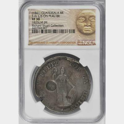 1841 Guatemala 8 Reales Counterstamped 1825 Peru 8 Reales NGC VF 30 Scarce Host