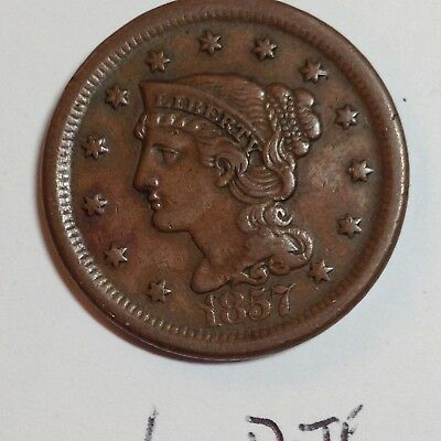 1857 1c Braided Hair Large Cent- Large Date!