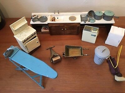 Bundle doll house kitchen furniture  stove sink table chairs pans ironing board,