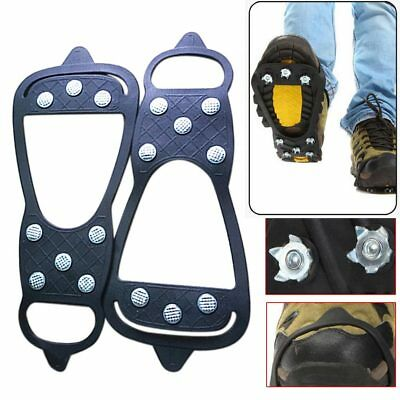 New 2pc 8Teeth Shoe Spikes Claws Anti-slip Sole Crampon Snow Chains for Boots L