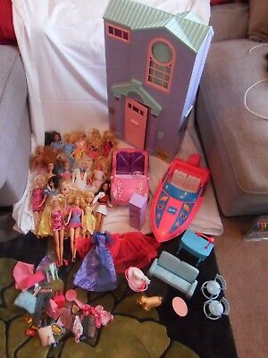 Barbie Fold Out House, Boat, Car, Dolls And A Few Accessories