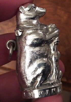 "Silver Victorian Novelty Bear Vesta Case Made In Birmingham 1898 "" IN MIND ""..."