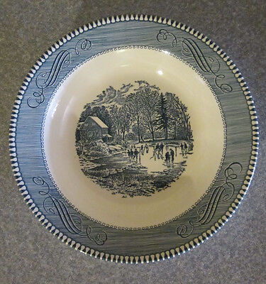 """Vintage Royal USA Currier & Ives Blue Rim Soup Bowl 8.5"""" Early Winter"""