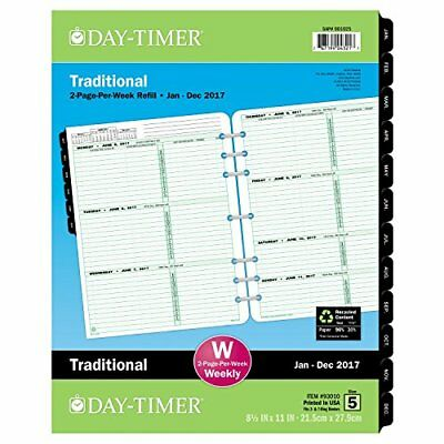 """Day-Timer Weekly Planner Refill 2017 Two Page Per Week Loose Leaf 8-1/2"""" x 11..."""