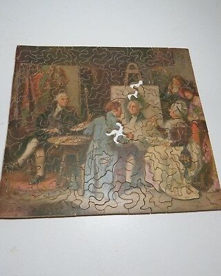 """Very Early Wooden Picture Puzzle """"washington Sits For His Portrait."""" Augusta Me"""