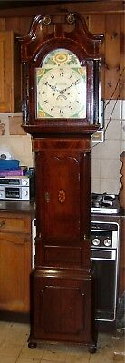 A Georgian Oak, Mahogany & Inlaid Antique Longcase Grandfather Clock C1820