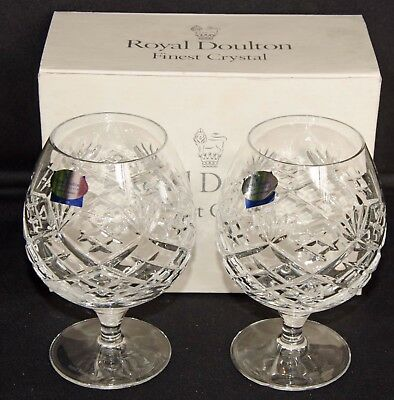 Royal Doulton Cut Glass Crystal Brandy Schooners, Arden, Boxed, Excellent
