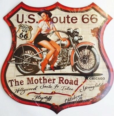 Plaque Decorative Metal Geante - Sexy Pin Up Cowgirl Route 66-Deco Usa /vintage