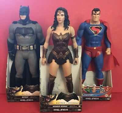 Lot of 3 DC Big-Figs Batman Wonder Woman & Superman 19 Inch Figures
