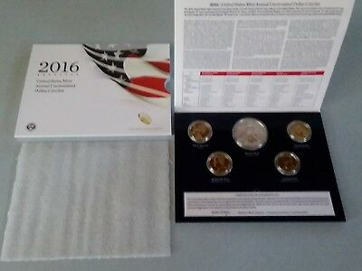2016 Annual Uncirculated Dollar Set - Burnished W Silver Eagle Light White Mark