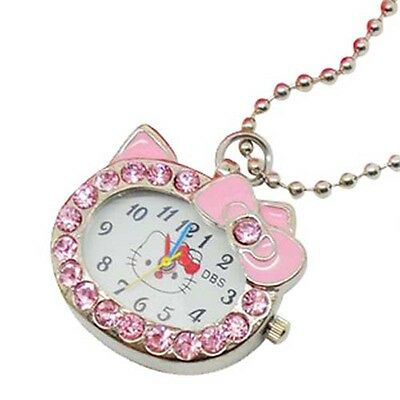 NEW DBS Kitty Cat Womens Girls Crystal Pendant Quartz Pocket Necklace Watch Pink
