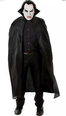 Adult Black Devil Cape Vampires Ladies MenHalloween Fancy Dress Dracula Vampire