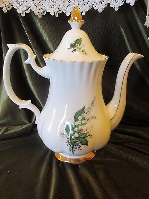 Lovely Vintage  Staffordhsire Large China  Coffee Pot Lily Of The Valley Design