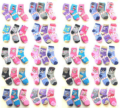 Girls Childrens Kids Character Socks Cotton 6 Pairs Pack Assorted *Choose*